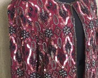 Vintage Sequin Handbeaded Jacket, Stenay, 80's, Cher, 100% Silk, Cranberry Red, Holiday dress, Size Small/Medium
