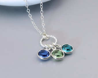 Birthstone Necklace, Mother's necklace, family birthstone necklace, eternity circle, sterling silver and crystal, mothers day gift