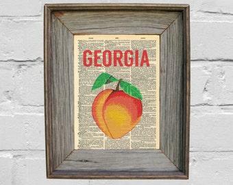 Dictionary Art Print. Georgia Peach Print. Art Print. Georgia Print.