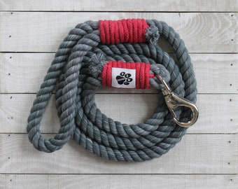 Gray and Red Rope Dog Leash - 100% Cotton Rope - Dog Leash - Pet Collars and Leashes
