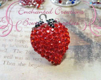 40mm Red Rhinestone Strawberry Pendant, Chunky Pendant, Keychain, Bookmark, Zipper Pull, Chunky Jewelry, Purse Charm, Planner Charm