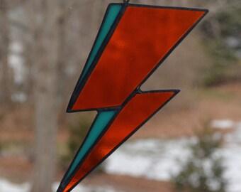 Stained Glass David Bowie Album Art Inspired Lightening Bolt Sun Catcher, Aladdin Sane, Ziggy Stardust