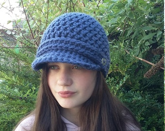 Womens Newsboy Hat, Brimmed Beanie Hat, Crochet Hat with Visor, Christmas Gifts, Gifts for Her, Womens Winter Hat with Brim, Gift for Mum