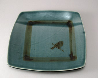 Square Serving Plate-Pottery Platter-Tableware-Ceramic Tray-Bird-Peacock Blue Green Glaze