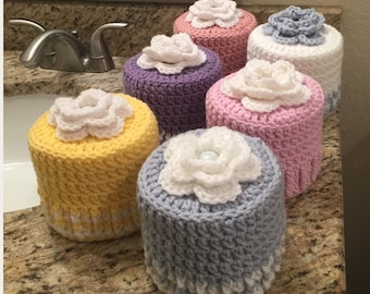 Toilet Paper Roll Cover, Handmade Crochet Toilet Paper Roll Cozy, Retro Bathroom Decor, Toilet Paper Cover READY TO SHIP