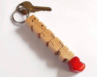 BESSY - proef de naam sleutelhanger in Maple hout