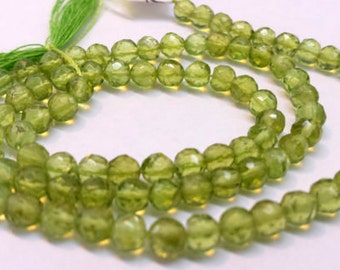 Peridot Faceted Gemstone Strand of 4.25mm Round Beads