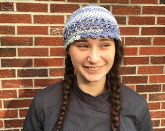 Hues of Blue and White Crochet Cloche Hat