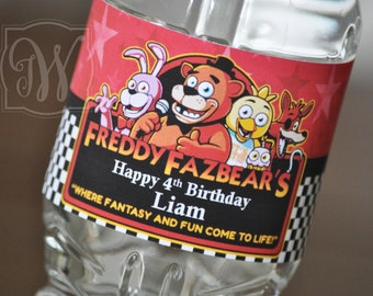 FNAF, Five nights at Freddy's water bottle wrappers 100% water-proof - Five Nights at Freddy's Birthday