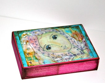Peace Fairy - ACEO Giclee print mounted on Wood (2.5 x 3.5 inches) Folk Art  by FLOR LARIOS