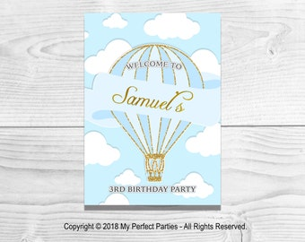 DIGITAL DOWNLOAD - Personalised Blue Hot Air Balloon Children's Birthday Party Welcome Sign - PRINTABLE