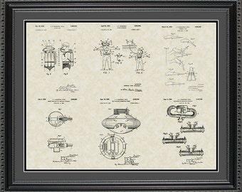 Cousteau Patent Collection Print Scuba Diver Gift PCOUS2024