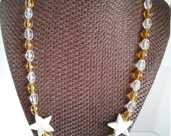 White and Gold Necklace with Stars