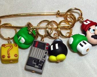 Stitch Markers MARIO   for Knit or Crochet set of 6 Luigi Bomb 1 up mushroom