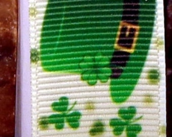 "2 Yards 7/8"" St. Patrick's Day Lucky Leprechaun Hat Print Grosgrain Ribbon"