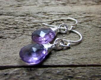 Amethyst Earrings, Dainty Sterling & Amethyst Dangle, Simple Gemstone Earring