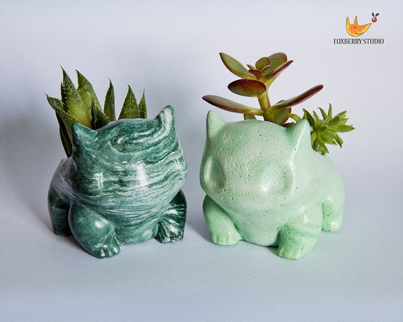 Made To Order Any Colour Unique Marbled Stone Look Bulbasaur Pokémon Planter / Succulent Planter / Jewelry Holder by Etsy