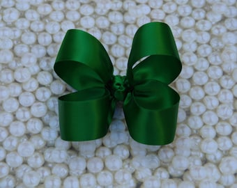 Green Satin Toddler Hair Bow 3 Inch Alligator Clip Baby Hairbow Christmas Special Occasion