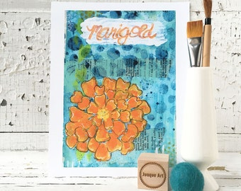 Marigold Mixed Media Art Print - 2 sizes available