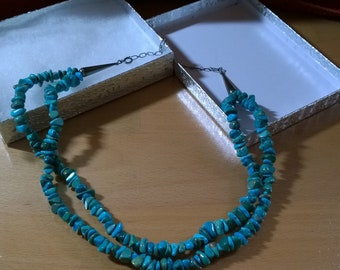 Carolyn Pollack Semi-Chunky Turquoise Nugget Necklace