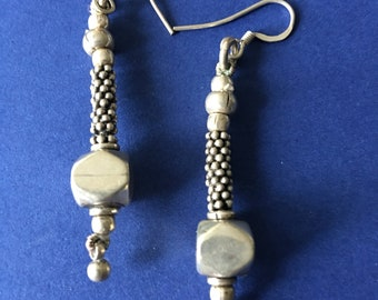 Vintage Sterling Silver earrings Dangling Drop artisan  earrings Boho 70s long 925 silver marked Gift for her