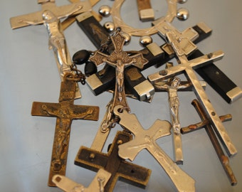 FLASH SALE 15 Scrap CROSSES lot antique for rosary Crosses jewelry crucifix vintage collection lot  jewelry making antique no203 etsy art