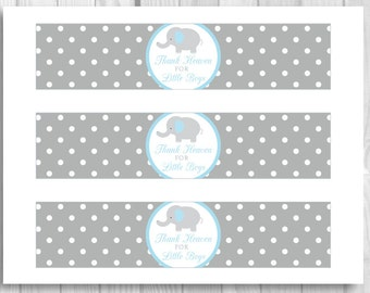 SALE Blue and Gray Elephant Thank Heaven for Little Boys Printable Baby Shower Water Bottle Labels - Polka Dots - Instant Download