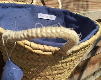 Small basket lined with blue polka dots