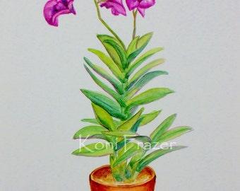 Purple Orchid plant, original watercolor painting