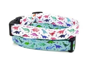 Rawr, I Love Dinosaurs Blue or White Multicolored Dog Collar Dino