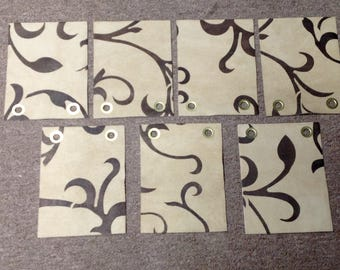 BR369.  Package of 7 Camel Colored Printed Swirl Leather Cowhide Remnants
