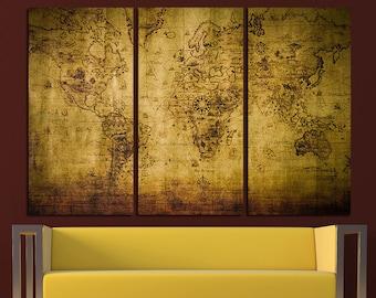 vintage world map old world map antique world map canvas world map wall art world map print travel map world map wall decor world map art