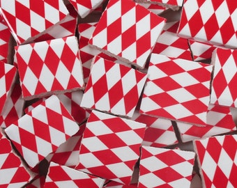 Ceramic Mosaic Tiles - Red And White Harlequin Checkered Mosaic Tile Pieces - 40 Pieces - Mosaic Art / Mixed Media Art/Jewelry