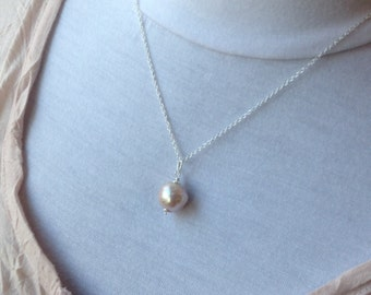 Large 13mm Kasumi Pearl Pendant, pearl necklace, pearl jewelry, June birthstone Necklace, bridal necklace, birthday gift for girl