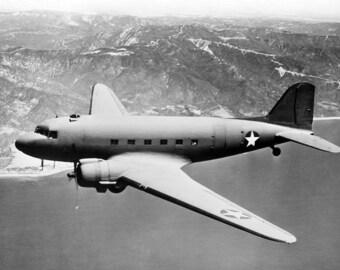"""1943 Douglas C-47 Transport Airplane Vintage Photograph 8.5"""" x 11"""" Reprint"""