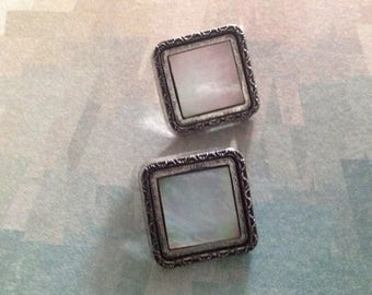 Set of two square buttons, vintage 50s - 60s