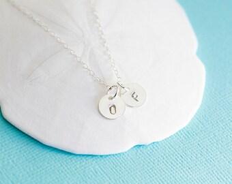 Mini Disc Necklace, 14k Gold Filled, Sterling Silver, handstamped