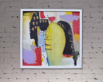 Abstract Art, Fine Art, Hessian Art, Framed Painting, Framed Art, Abstract Painting, Wall Art, framed Abstract Art, Square painting, Art