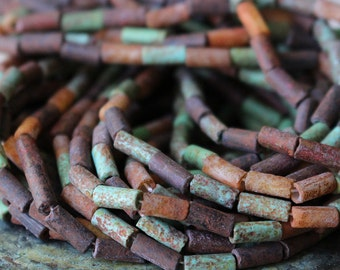 Rustic Aged Picasso Tube Beads - Tribal Bohemian Tube Mix - Czech Glass Beads - Wampum Picasso Beads - 20 or 60 Inches - 9x4mm