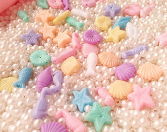 100 pcs Aquatic mix colors plastic pastel beads