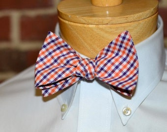 Purple & Orange Tattersall Bow Tie~Mens Self Tie Bow Tie~Mens Pre-Tied~Anniversary Gift~HoBo Ties~Cotton Bow Tie~Wedding~Clemson Bow Tie