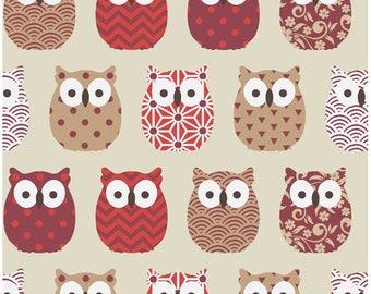 Fabric red owls, owls fabric Scandinavian fabric, 1/2 meter