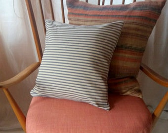 Blue and White Ticking Stripe Cushion