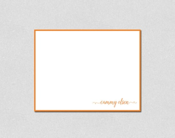 Personalized Stationery, Flat Note Cards, Monogram Note Cards, Custom Stationery