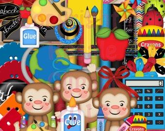 DIGITAL SCRAP KIT - Back To School Monkey Boys