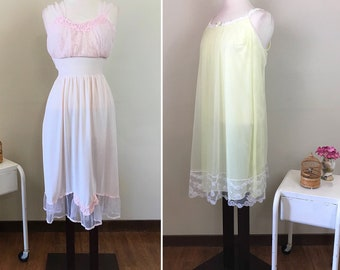 Vintage 1950s Lingerie / Pink and yellow / Lacy chiffon / 2 pieces