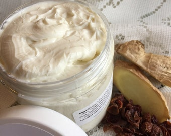 HEMP + Mango Goat Milk lotion | Ginger + Rose essential oil | moisturizing fragrant cream travel + full size jar organic whipped body butter