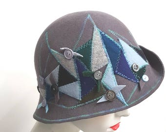 Grey wool felt embroidered and applique cloche hat with upturn brim unusual hat