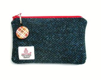 Harris Tweed coin purse. Harris Tweed pouch. Dark blue herringbone Harris Tweed purse. Small coin purse. Harris Tweed zipped pouch.