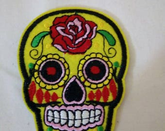 Bright yellow day of the dead iron on patch